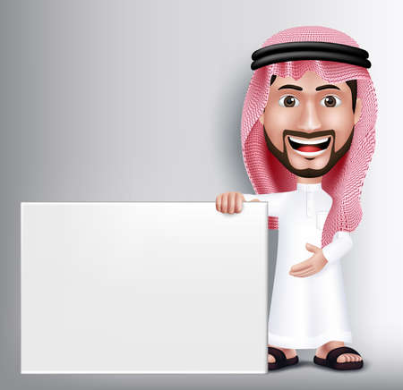 Realistic Smiling Handsome Saudi Arab Man Character in 3D Posing Gesture with Thobe Dress Holding White Blank Board for Text or Titles. Editable Vector Illustration