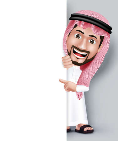 welcome people: Realistic Smiling Handsome Saudi Arab Man Character in 3D Posing with Thobe Dress Pointing His Hand in White Blank Board for Text or Titles. Editable Vector Illustration