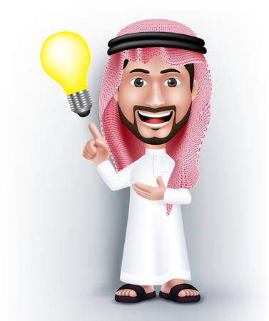 arab adult: Realistic Smiling Handsome Saudi Arab Man Character in 3D Posing with Thobe Dress Pointing Hand in a Bulb Idea or Creativity. Editable Vector Illustration