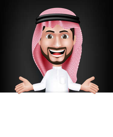 Realista Sonrisa hermosa Arabia Carácter Hombre árabe en 3D que presenta con Thobe vestido Hablar Mostrando Junta blanco para el texto o títulos con Welcome gesto de mano. Ilustración vectorial editable
