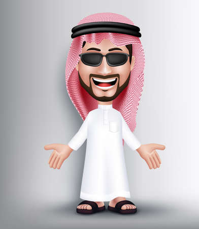 thobe: Realistic Smiling Handsome Saudi Arab Man Character in 3D Posing and Talking with Thobe Dress and Sunglasses With Welcome Hand Gesture. Editable Vector Illustration Illustration
