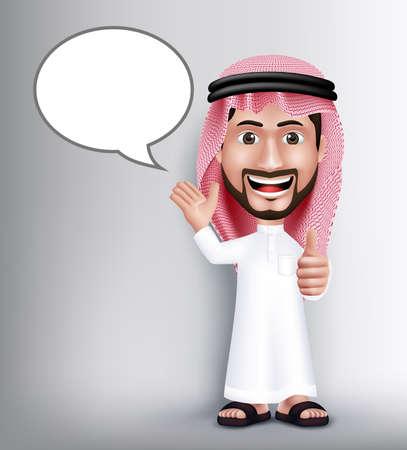 Realista Sonrisa hermosa Arabia Carácter Hombre árabe en 3D que presenta con Thobe vestido Hablar con las burbujas discurso en blanco con gesto aceptable Gesto de mano. Ilustración vectorial editable