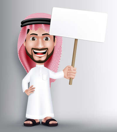 Realistic Smiling Handsome Saudi Arab Man Character in 3D Posing Gesture with Thobe Dress Holding White Blank Board for Text or Titles. Editable Vector Illustration  イラスト・ベクター素材
