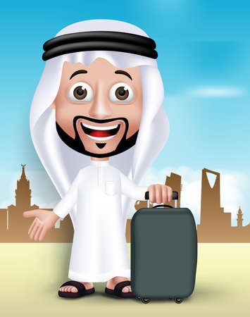 Realistic 3D Handsome Saudi Arab Man Wearing Thobe Standing Happy With Traveling Bag in Middle East City. Editable Vector Illustration. Illustration