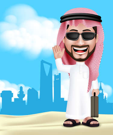 Realistic 3D Handsome Saudi Arab Man Wearing Thobe and Sunglasses Standing Happy With Traveling Bag in Middle East City With Hello Hand Gesture. Editable Vector Illustration. Vector