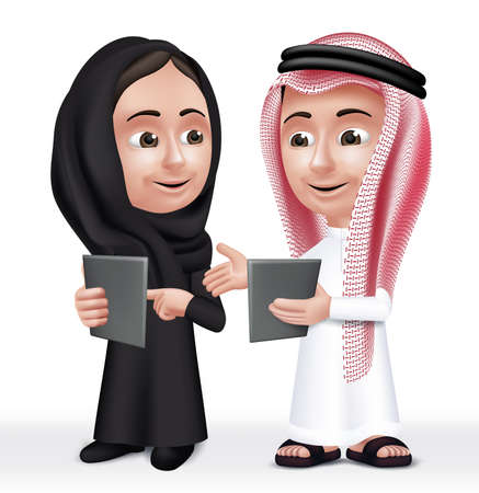 dress: Realistic 3D Arab Kids Characters Boy and Girl Talking in Mobile Tablet About School Wearing Thobe and Abaya for Studies.  Illustration