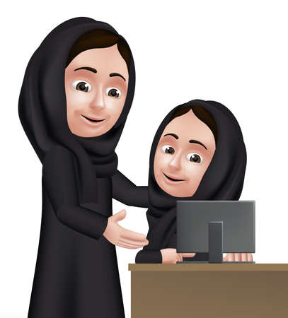Realistic 3D Arab Woman Teacher Character Teaching Student Girl in Computer School Wearing Black Abaya for Studies.