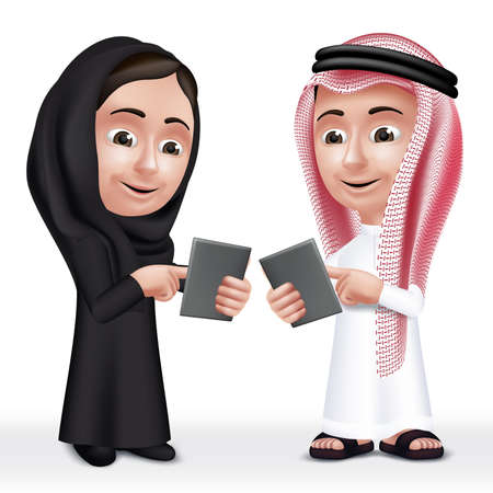 arabic: Realistic 3D Arab Kids Characters Boy and Girl Talking in Mobile Tablet About School Wearing Thobe and Abaya for Studies.  Illustration