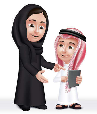 saudi: Realistic 3D Arab Teacher Woman Character Teaching Boy Student in Mobile Tablet About School Wearing Thobe and Abaya for Studies.