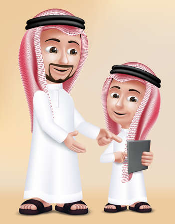 Realistic 3D Arab Teacher Man Character Teaching Boy Student in Mobile Tablet About School Wearing Thobe for Studies.