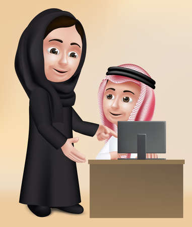 teacher and students: Realistic 3D Arab Woman Teacher Character Teaching Student Boy in Computer School Wearing Black Abaya and Thobe for Studies. Illustration