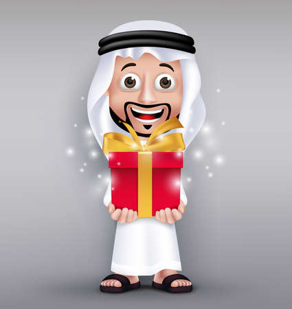 giving gift: Realistic Saudi Arab Man Wearing Thobe Giving Red Gift Shining with Golden Ribbon for Celebration like Eid Mubarak or Birthday. Editable Vector Illustration