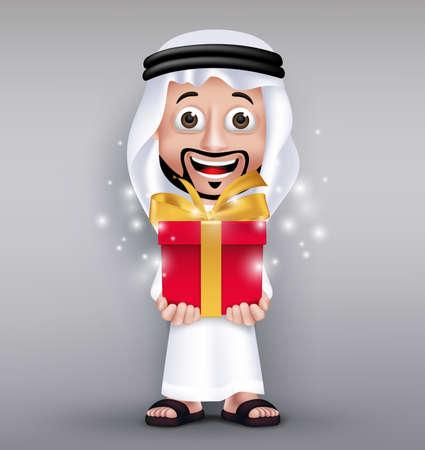 uomo rosso: Realistico saudita Arab Man Wearing Thobe dà regalo rosso brillante con il nastro d'oro per la celebrazione come Eid Mubarak o compleanno. Illustrazione vettoriale modificabile