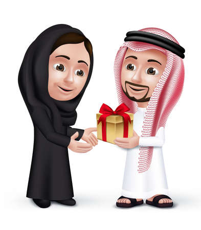 couples: Realistic Saudi Arab Man Wearing Thobe Giving  Golden Gift with Red Ribbon in a Beautiful Woman Wearing Abaya as They are Lovers. Editable Vector Illustration