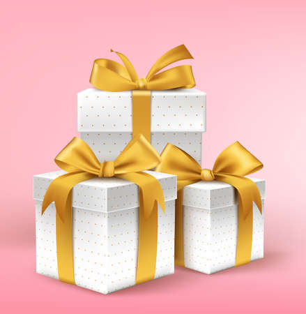 Realistic 3D White Gifts with Colorful Gold Ribbons Wrap with Dotted Pattern for Birthday Valentines or Christmas Celebration in Pink Background. Editable Vector Illustration. Vector
