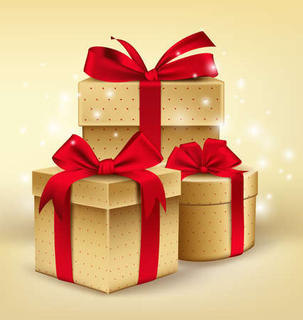 dar un regalo: Realistas regalos de oro 3D con coloridas cintas rojas Envuelva con patrón de puntos para el cumpleaños o celebración Christmass en el fondo blanco. Ilustración vectorial editable.