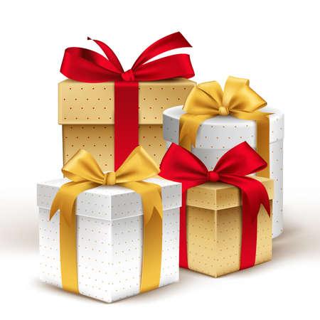 dar un regalo: Grupo de los realistas Regalos coloridos 3D con cintas de colores Envuelva con patrón de puntos para el cumpleaños o celebración de Navidad en el fondo blanco. Ilustración vectorial editable. Vectores