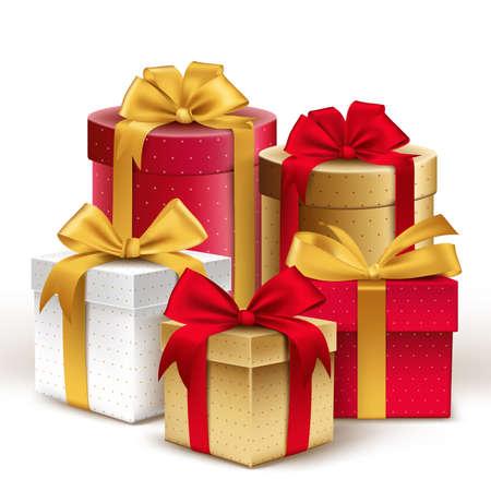 Grupo de los realistas Regalos coloridos 3D con cintas de colores Envuelva con patrón de puntos para el cumpleaños o celebración de Navidad en el fondo blanco. Ilustración vectorial editable.