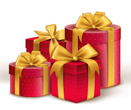 Realistic 3D Red Gifts with Colorful Gold Ribbons Wrap with Dotted Pattern for Birthday Valentines or Christmas Celebration in White Background. Editable Vector Illustration. Illustration