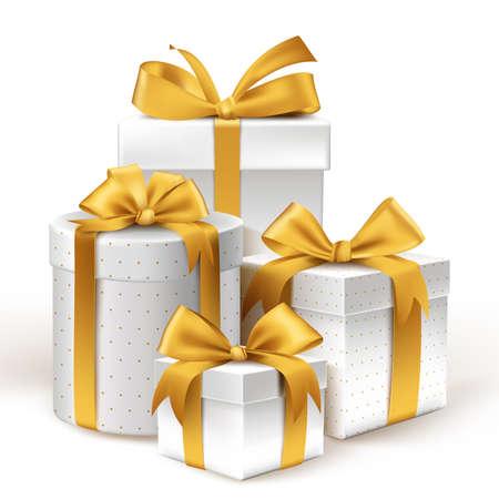 dar un regalo: Regalos realistas 3D blancos con coloridas cintas de oro Envuelva con patrón de puntos para el cumpleaños o celebración de Navidad en el fondo blanco. Ilustración vectorial editable.