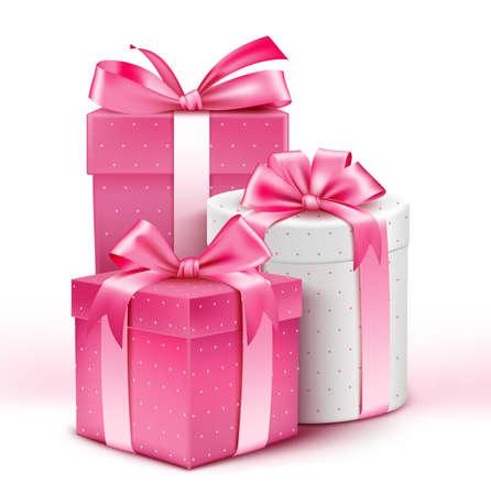 chicas comprando: Colección 3D realista de regalos patrón de colores para las señoras con la cinta rosada para la celebración del aniversario del cumpleaños de la celebración de San Valentín y Eid Mubarak. Ilustración del vector.