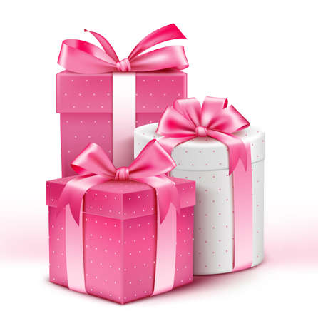 gift: Realistic 3D Collection of Colorful Pattern Gifts for Ladies with Pink Ribbon for Birthday Celebration Christmas Valentines Party Anniversary and Eid Mubarak. Vector Illustration.
