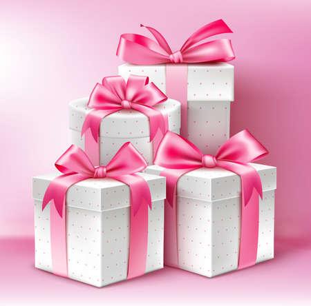 Colección 3D realista de regalos patrón de colores para las señoras con la cinta rosada para la celebración del aniversario del cumpleaños de la celebración de San Valentín y Eid Mubarak. Ilustración del vector. Ilustración de vector
