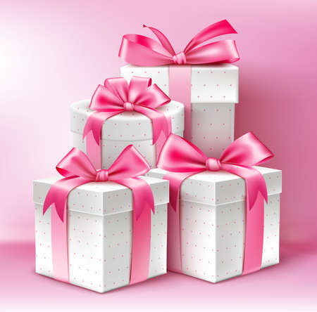 Realistic 3D Collection of Colorful Pattern Gifts for Ladies with Pink Ribbon for Birthday Celebration Christmas Valentines Party Anniversary and Eid Mubarak. Vector Illustration.