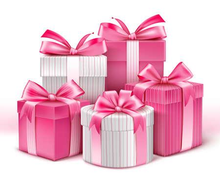 lazo rosa: Colección 3D realista de regalos patrón de colores para las señoras con la cinta rosada para la celebración del aniversario del cumpleaños de la celebración de San Valentín y Eid Mubarak. Ilustración del vector.