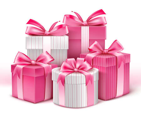 christmas gifts: Realistic 3D Collection of Colorful Pattern Gifts for Ladies with Pink Ribbon for Birthday Celebration Christmas Valentines Party Anniversary and Eid Mubarak. Vector Illustration.