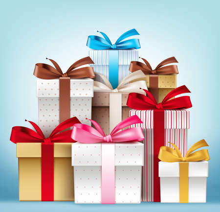 Realistic 3D Collection of Colorful Pattern Gift Box with Ribbon Ilustração