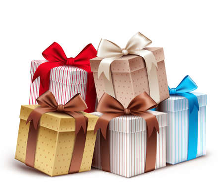 Realistic 3D Collection of Colorful Pattern Gift Box with Ribbon 일러스트