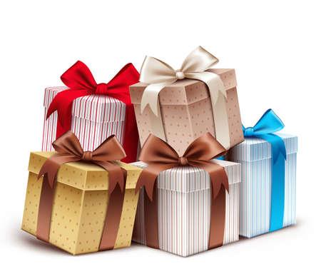 Realistische 3D-verzameling van kleurrijke Patroon Gift Box met lint Stock Illustratie