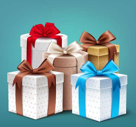 cajas navide�as: Colecci�n realista en 3D del modelo colorido caja de regalo con la cinta Vectores