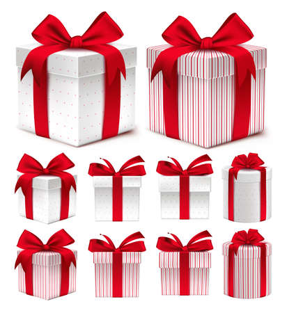 red gift box: Realistic 3D Collection of Colorful Red Pattern Gift Box with Ribbon