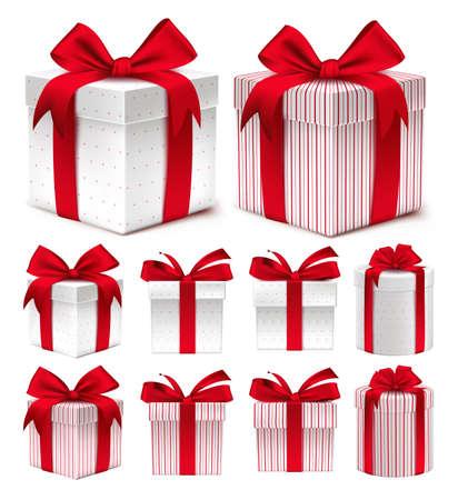 Realistische 3D-verzameling van kleurrijke Rode Patroon Gift Box met lint