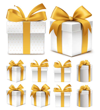 giving gift: Realistic 3D Collection of Colorful Gold Pattern Gift Box with Ribbon