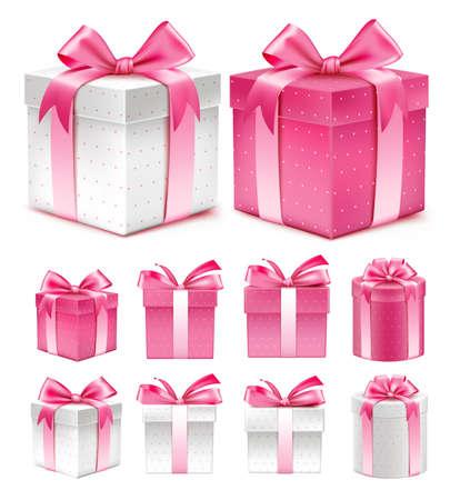 lazo rosa: Colecci�n realista 3D de colorido rojo Patr�n caja de regalo con la cinta