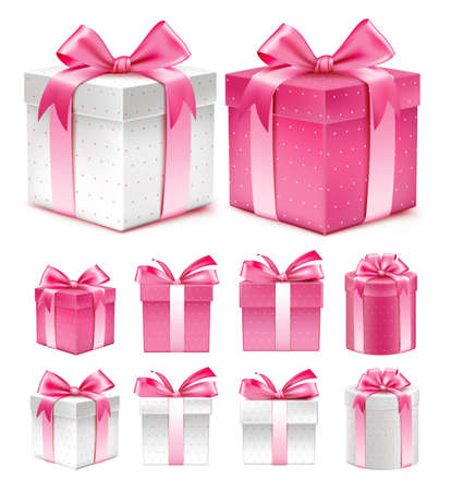 pink ribbons: Realistic 3D Collection of Colorful Red Pattern Gift Box with Ribbon
