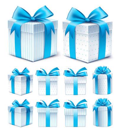 리본과 화려한 블루 패턴 선물 상자의 현실적인 3D 컬렉션 일러스트