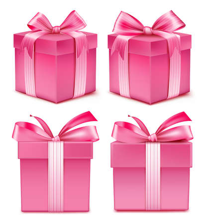 Realistic 3D Collection of Colorful Red Pattern Gift Box Ilustração