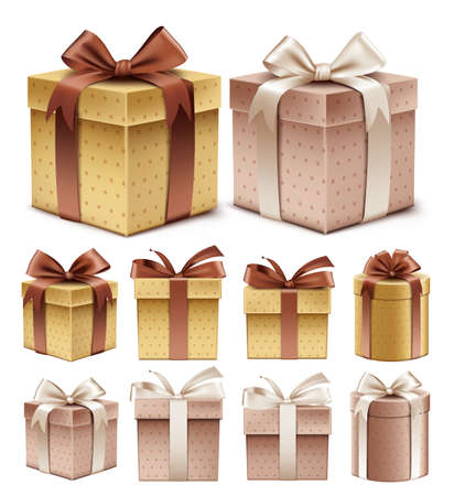 Realistic 3D Collection of Colorful Brown Pattern Gift Box with Ribbon