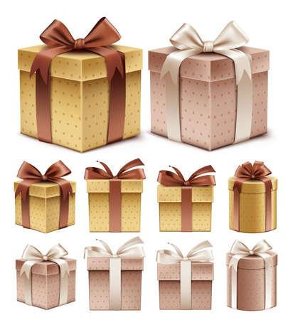 Realistische 3D-verzameling van kleurrijke Brown Pattern Gift Box met lint