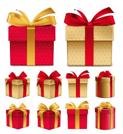 moños navideños: Colección realista 3D de colorido rojo Patrón caja de regalo con la cinta