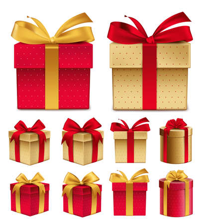 christmas gifts: Realistic 3D Collection of Colorful Red Pattern Gift Box with Ribbon