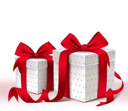 cajas navide�as: Realista 3D colorida caja de regalo rojo con el patr�n y la cinta de sat�n y arco para la celebraci�n de San Valent�n D�a de la fiesta de cumplea�os de Navidad y aniversario. Aislado ilustraci�n vectorial
