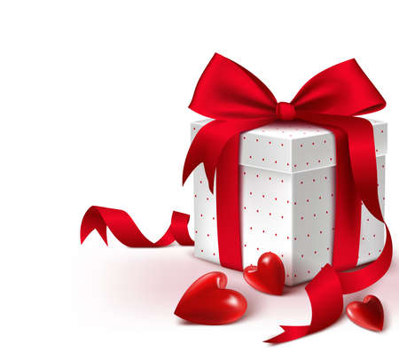 Realistic 3D Colorful Sweet Red Gift Box with Hearts and Satin Ribbon and Bow for Romantic Valentines Day Thanksgiving Christmas Party and Anniversary. Isolated Vector Illustration