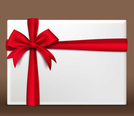 Realistic 3D Colorful Red Gift Box Wrapped with Satin Ribbon and Bow With White Space for Valentines Day Birthday Celebration Christmas Party and Anniversary. Isolated Vector Illustration  イラスト・ベクター素材