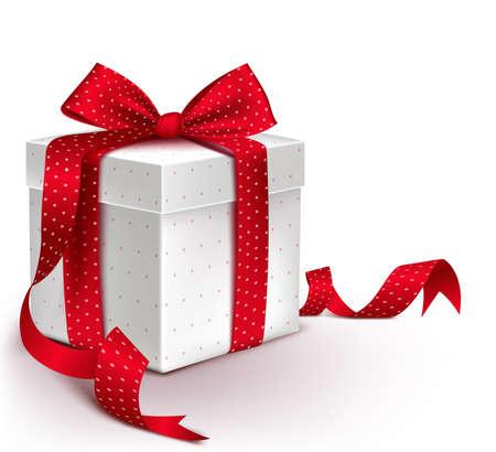 Contenitore di regalo rosso variopinto realistico 3D con il nastro del modello e del raso ed arco per la festa di Natale e l'anniversario di celebrazione di compleanno di giorno di biglietti di S. Valentino. Illustrazione vettoriale isolato Archivio Fotografico - 41781710