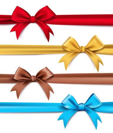 wraps: Conjunto de seda realista 3D o Cintas de satén y arco de elementos y decoraciones para las celebraciones del Día de San Valentín y cumpleaños. Aislado ilustración vectorial Vectores